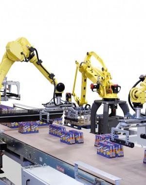 Raklap-csomagoló robot folyadék tartályokhoz